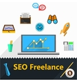 flat icons for freelance and SEO vector image