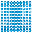 100 tennis icons set blue vector image vector image