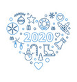 2020 happy new year heart outline concept vector image