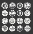 anniversary retro labels 10 years collection 2 vector image vector image