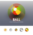 Ball icon in different style vector image vector image