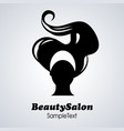 beauty salon icon silhouette of woman with long vector image