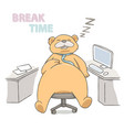 big bear sleeping on a chair at working place vector image vector image