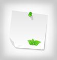 blank note paper with green leaves isolated on vector image vector image