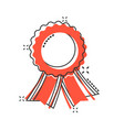 cartoon badge with ribbon icon in comic style vector image vector image