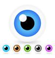 cartoon eyes in 6 colors vector image