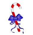 Christmas candy cane withblue bow vector image vector image