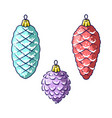 christmas tree decorations isolated on white vector image vector image