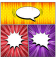 comic three explosive backgrounds vector image vector image