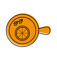cup of tea with slice orange refreshment liquid vector image