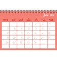 Desk calendar template for month June Week starts vector image