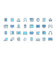 electronic devices line icons desktop computer vector image