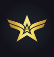 gold arrow star realty wing logo vector image vector image
