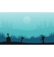 Hand zombie in tomb Halloween scenery vector image