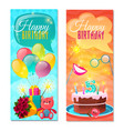 happy birthday vertical banners vector image vector image