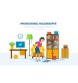 housekeeper washes the floors with a mop in room vector image