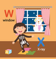 isolated alphabet letter w-window x-x-ray vector image vector image