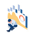 isometric depressed businessman with falling vector image vector image
