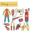 line icons with diving equipment vector image vector image