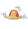 listening music straw hat in a wooden cartoon vector image