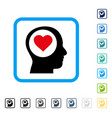 love thinking head framed icon vector image vector image