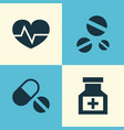 medicine icons set collection of drug beating vector image
