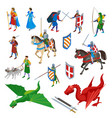 medieval isometric icons collection vector image vector image