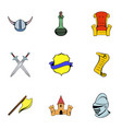 medieval knight icons set cartoon style vector image vector image