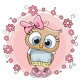Owl with flowers vector image vector image