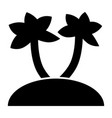palm trees on island solid icon tropical beach vector image vector image
