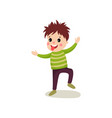 playful little kid jumping with hands up and vector image