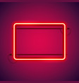 rectangular red neon frame vector image vector image