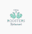roosters restaurant abstract sign symbol vector image vector image