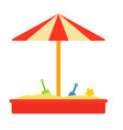 sandbox with roicon flat isolated vector image vector image