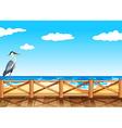 Scene with crane and ocean vector image vector image