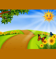 scenery garden with sunflower vector image vector image