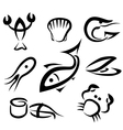 sea food set icons vector image vector image