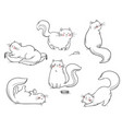 set cats playing around line vector image