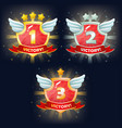 shields with victory banner stars and wings vector image vector image
