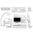 sketch of living room interior black and white vector image