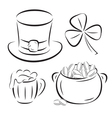 st patrick day symbols silhouettes isolated on whi vector image