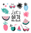summer icon collection tropical set with exotic vector image vector image