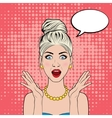 surprised woman in pop art comics style vector image vector image