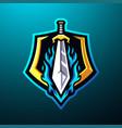 sword mascot logo desain vector image