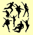 tap dance man and women silhouette vector image vector image