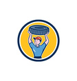 Tireman Mechanic With Tire Cartoon Circle vector image vector image