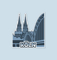 view cathedral from bridge in cologne vector image