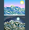 Blusterous sea vector image