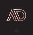 a and d monogram logo linear gold letters vector image vector image