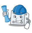 architect dice character cartoon style vector image